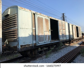 Freight train parking on railroad track