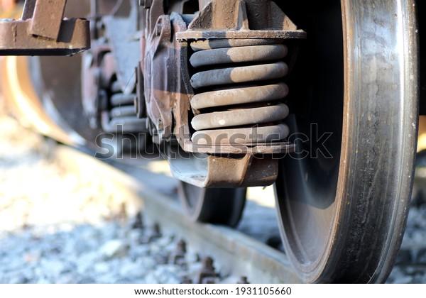 Freight train wheels soft focus