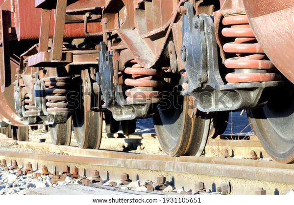 Freight train wheels at the station