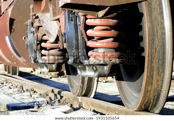 Freight train wheels at the station up close