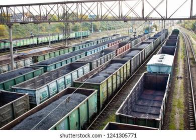 Freight trains on city cargo terminal