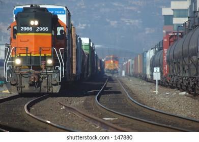 Freight trains in Seattle Washington