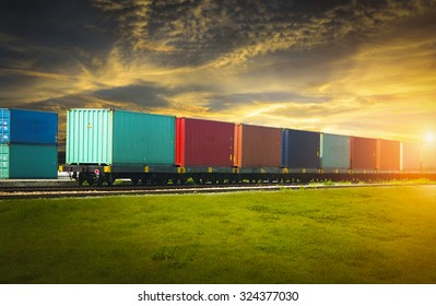 Freight trains at sunset.
