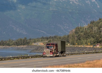 Freight transport by road from the Gulf of Alaska in the scenic Seward Highway-Highway at the foot of the ridge Chugachskogo. 15. 07. 2016.