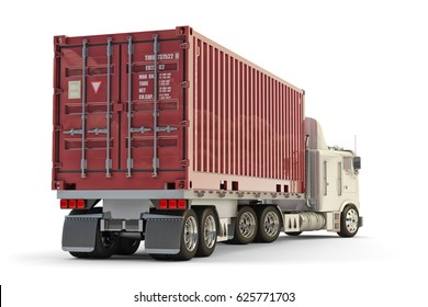 Freight transportation and cargo delivery concept, container truck isolated on white, 3d illustration