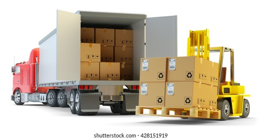 Freight transportation, packages shipment, warehouse logistics and cargo loading and unloading concept, delivery truck with cardboard boxes and forklift with pallet isolated on white, 3d illustration