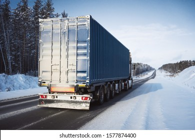 Freight truck on a winter road.