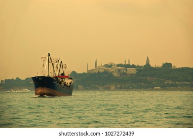 Freighter in the Bosphorus at dawn