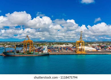 Freighter and Containers in Barbados