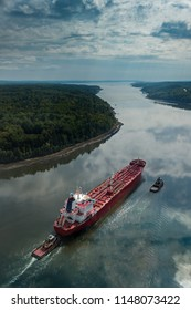 Freighter Moving Out Penobscot River to Atlantic - Bucksport, Maine, USA