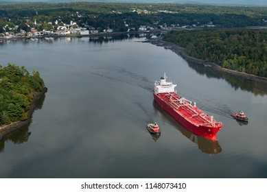 Freighter Sails Away From Bucksport, Maine - on way to Atlantic Ocean