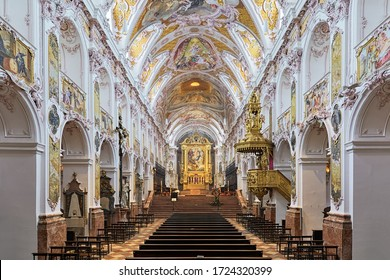 FREISING, GERMANY - DECEMBER 17, 2017: Interior of Freising Cathedral. The church was founded in 1159. The present Rococo interior was created in 1723-1724 by Asam brothers.