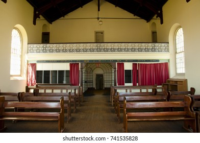 FREMANTLE, AUSTRALIA - October 26, 2016: Church chapel inside old Fremantle prison listed as a heritage site by UNESCO