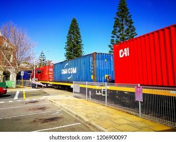 FREMANTLE, AUSTRALIA - September 3, 2017: Morning train in beautiful colour heading to the Fremantle Harbour.
