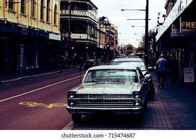 FREMANTLE, AUSTRALIA - September 7, 2017: Retro streets of FREMANTLE in Western Australia.