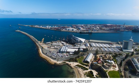 Fremantle Harbor Western Australia Drone Aerial in the sky of industrial port ship shipping area