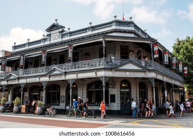 Fremantle, Perth, Australia - Dec 17 2017: Bustling activities around Sail and Anchor Hotel. It is located opposite the popular Fremantle Markets.