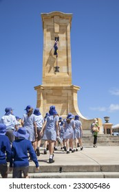 FREMANTLE, WESTERN AUSTRALIA, 11 NOV 2014: Local school children flock to the Fremantle War Memorial on Monument Hill Fremantle to pay tribute and participate in the annual Remembrance Day ceremony.