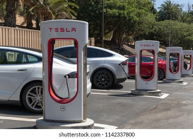 FREMONT, CA - JULY 25, 2018: Tesla's chief executive, Elon Musk, is facing new questions over finances after a report that the carmaker had asked suppliers to refund a portion of its payments.