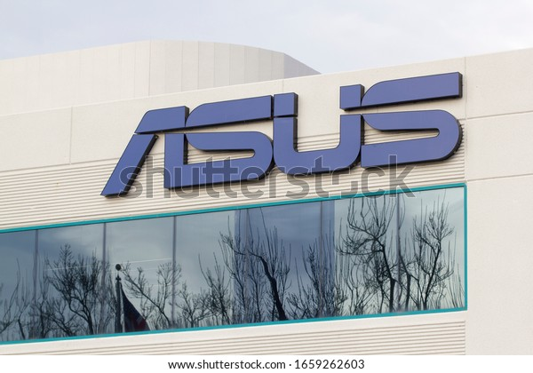 Fremont, CA, USA - Feb 28, 2020: The ASUS logo at Asus US Headquarters in Fremont, California. AsusTek Computer Inc. is a Taiwan-based multinational computer, phone hardware, and electronics company.