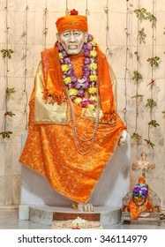 FREMONT, CA- USA NOVEMBER 2015 - Hindu god Shirdi Sai Baba idol in Hindu temple. Sai Baba was an Indian spiritual master who was and is regarded by his devotees as a saint, fakir, and sat guru