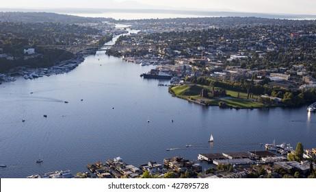 Fremont Cut, Lake Union Ballard Locks, Salmon Bay, Gasworks Park, Olympic Mountains, Sunset, Aerial View - Seattle, Washington State Lakes