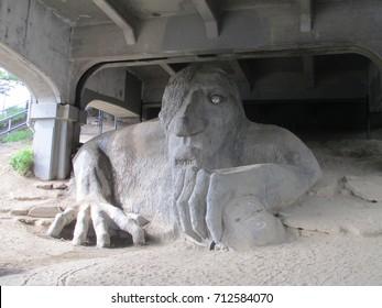 Fremont Troll under bridge in Portland