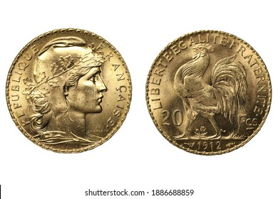 French 20 Francs gold coins isolated on white background