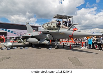 French Air Force Dasault Rafale on static display at the Paris Air Show. France - June 20, 2019