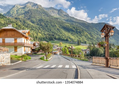 The French Alpine village of Les Contamines-Montjoie