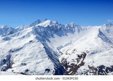 French Alps winter snow - Valloire ski resort in Europe.