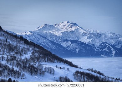 French Alps in winter. View of the Savoie Alps-Europe. Rhone-Alpes - Glacier de l'Etendard view from Saint Francois Longchamp.