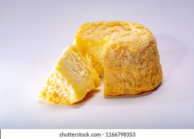 French AOC Langres soft cow crumbly cheese with washed rind structure made in Champagne-Ardenne region
