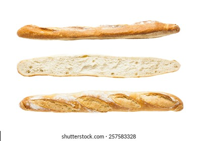 French artisan baguette on white background