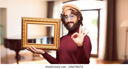 French artist with a beret with a baroque frame