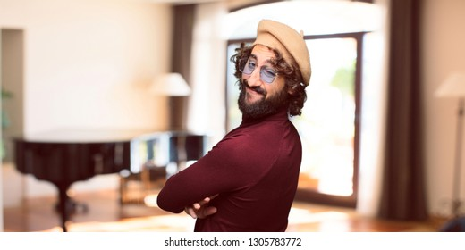 French artist with a beret happy expression