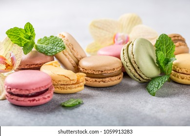 French assorted macarons with mint leaves on light gray concrete background. Holidays food concept with copy space.
