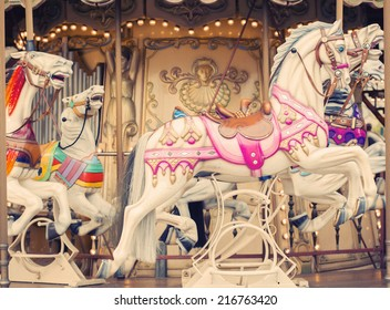 french background  carousel with horses