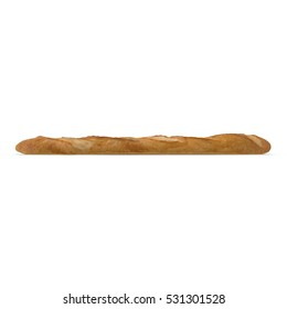 French baguette bread isolated on a white bakery. Side view. 3D illustration