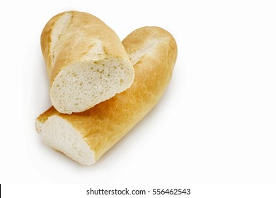 French baguette isolated on white.