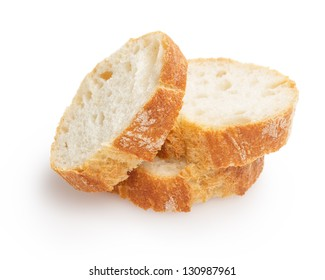 french baguette slices, isolated on white background
