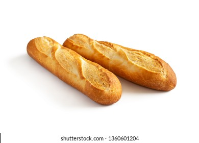 French baguette. Two fresh mini baguettes with crispy Golden crust isolated on white background