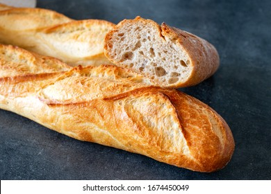 French baguettes. French bread. Selective focus.