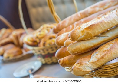French baguettes in traditional buffet