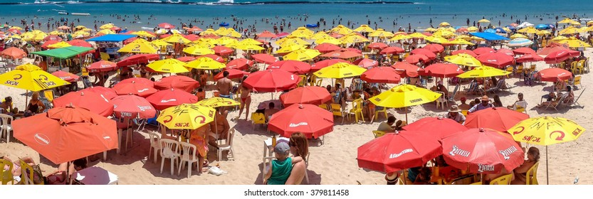 French beach ,Alagoas, Brazil - December 21'st ; Crowded French Beach  located in  Marechal Deodoro, State of Alagoas, Brazil on December 21, 2014.