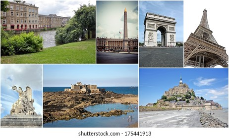French best of northern   country in collage set of pictures - Arc de Triumph,Versailles palace, Saint Malo, Mont St Michel and  Alencon in one collection