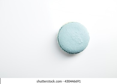 French blue macarons on  white background