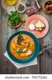 French Bouillabaisse fish soup with seafood, salmon fillet, shrimp, rich taste, tasty dinner