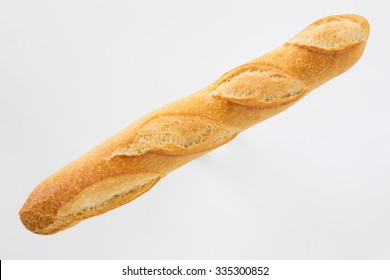 French bread baguette on a white background, made from flour. baking, top view, side view. space for text ..