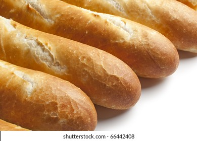French bread, baguettes close up on white background